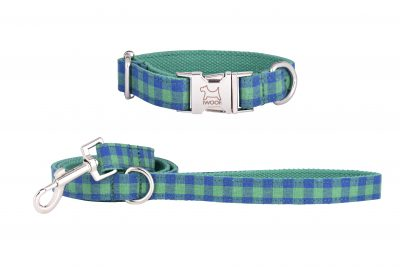 Green and Blue Check designer dog collar and matching designer dog lead by IWOOF