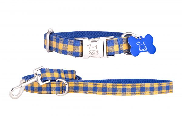 Blue and yellow check designer dog collar and dog lead by IWOOF