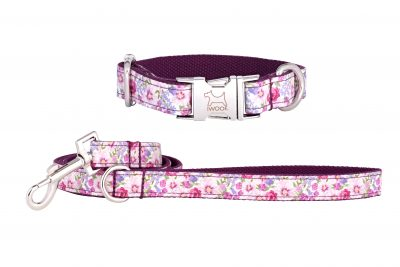 Pink Blossom designer dog collar and dog lead set