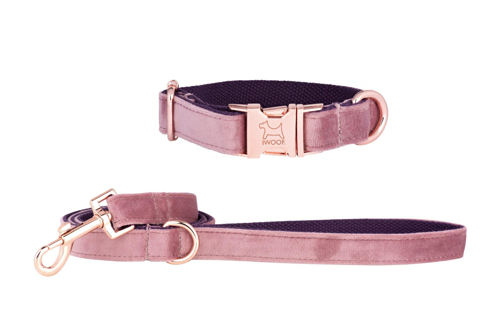 Pink Panther Designer Dog Collar And Lead Set In Rose Gold