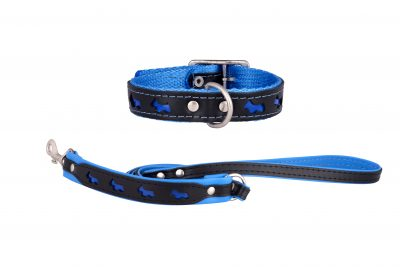 Reflex reflective designer dog collar and dog lead by IWOOF