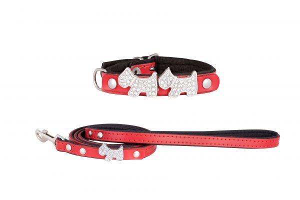 Highland leather designer dog collar and matching leather dog lead by IWOOF