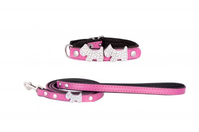 Highland designer leather dog collar and dog lead by IWOOF
