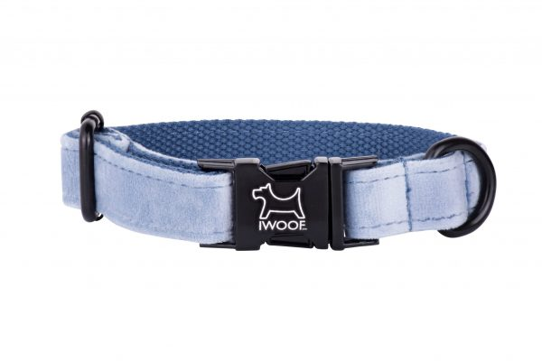 Sky designer dog collar by IWOOF with black buckle