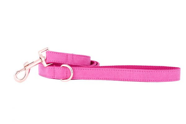 PINK designer dog lead by IWOOF with rose gold fittings