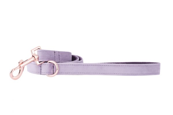 Lavender designer dog lead by IWOOF with rose gold fittings
