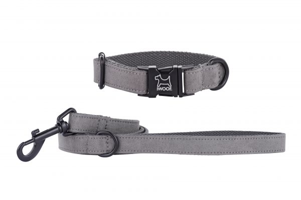 Dolphin designer dog collar and dog lead by IWOOF with black fittings