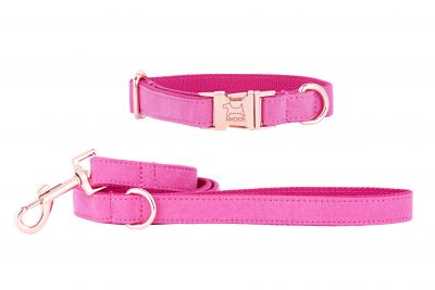 PINK designer dog collar and dog lead set by IWOOF with rose gold fittings