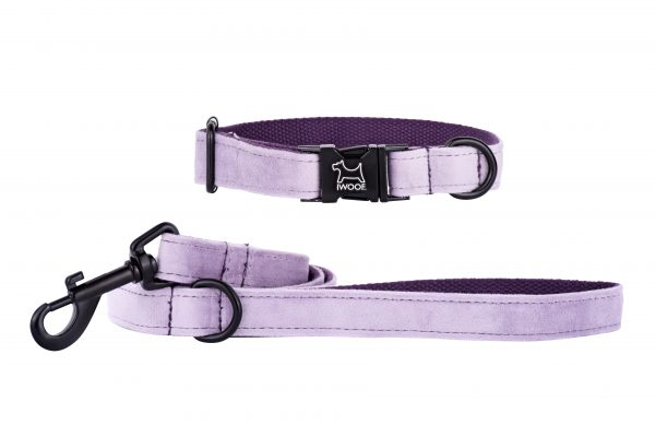 Lavender designer dog collar and matching dog lead by IWOOF with black fittings