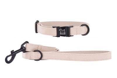 Sand Dune designer dog collar and matching dog lead by IWOOF with black fittings