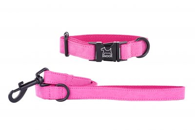 PINK designer dog collar and matching dog lead by IWOOF with black fittings
