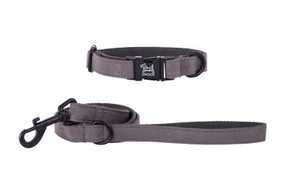 British Grey designer dog collar and lead hand made by IWOOF