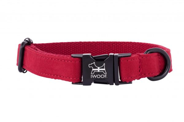 Cornish red designer dog collar with black fittings by IWOOF