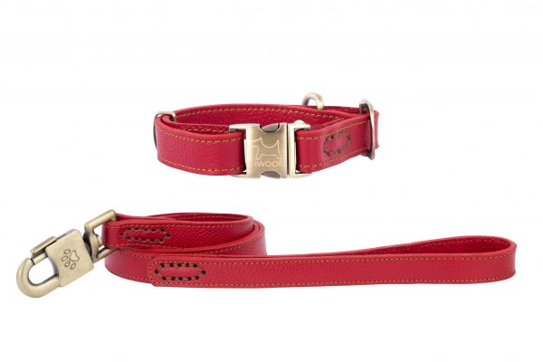 POLZEATH leather designer dog collar and lead by IWOOF in Red