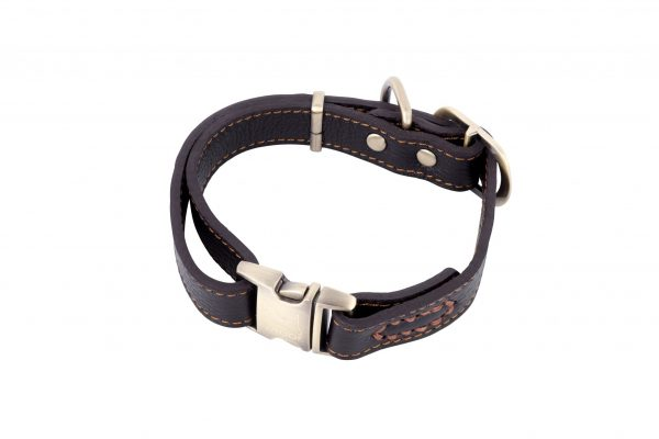 POLZEATH leather designer dog collar in brown by IWOOF