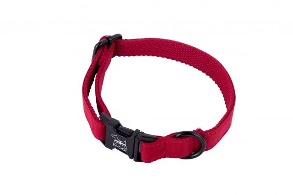 Cornish red designer dog collar by IWOOF with black fittings