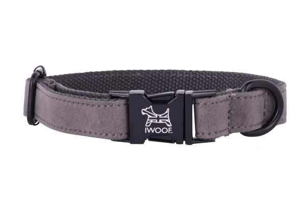 British Grey designer dog collar and lead by IWOOF with satin black fittings and displaying the British Flag within the buckle.