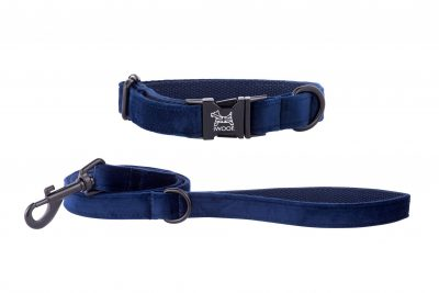 SAPPHIRE BLUE CRUSHED VELVET DESIGNER DOG COLLAR AND LEAD BY IWOOF