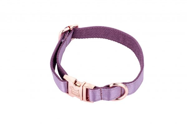 ESMA designer dog collar in mauve silk with rose gold fittings by IWOOF