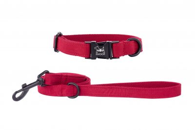 designer dog collar, Cornish red with black fittings by IWOOF