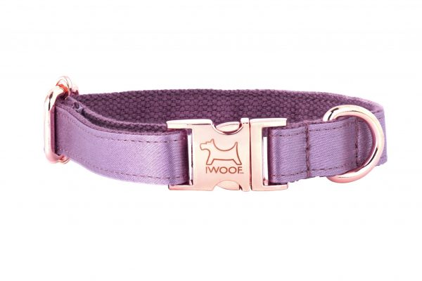 ESMA designer dog collar by IWOOF in mauve silk and rose gold fittings