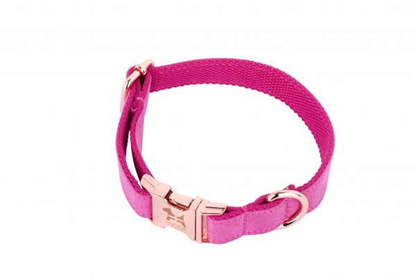 PINK designer dog collar with Cornish flag and rose gold fittings by IWOOF