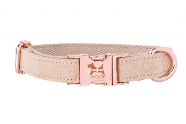 Cornish Sand designer dog collar by IWOOF with rose gold fittings